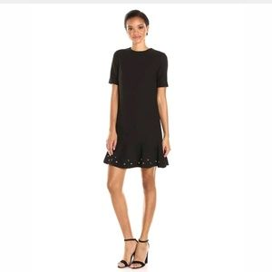 TAHARI KNIT DRESS W/ FLOUNCE HEM & GROMMETS 14